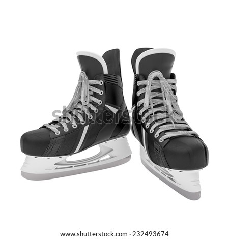 3d illustration of ice skates on white background