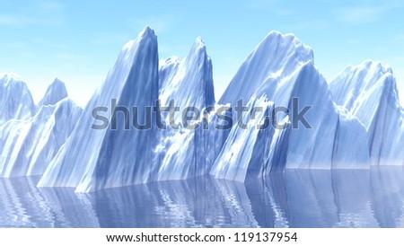 3d illustration of Iceberg at north pole - stock photo