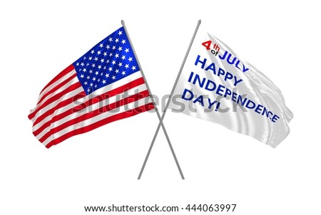 3d illustration of Independence Day sign from flags / Days of USA
