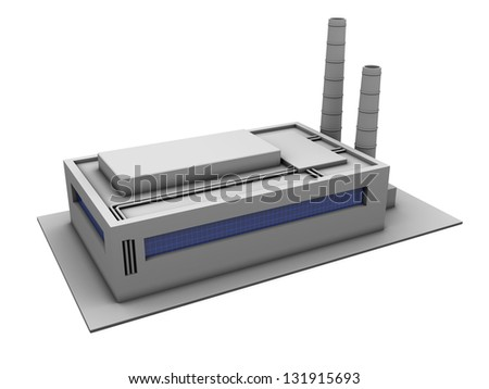 3d illustration of industrial building over white background