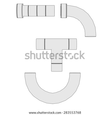 2d illustration of industrial pipes - stock photo