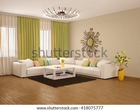 3d Illustration Of Interior Modern Living Room Warm Colors
