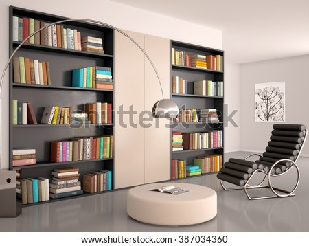 3d illustration of Interior of modern room for reading. The wall of the bookcase and books. - stock photo