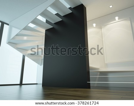 3d illustration of interior with stairs