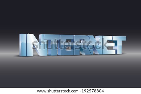 3d illustration of internet word on dark background (Raster) - stock photo
