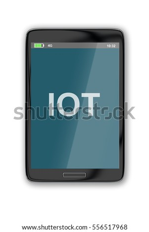 "3D illustration of ""IOT"" title on cellular screen, isolated on white. 
