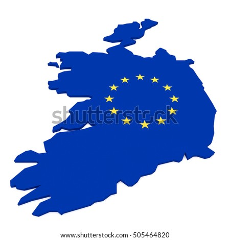 3d Illustration of Ireland Map With EU Flag Isolated On White Background