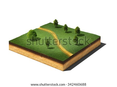 3d illustration of isometric cross section of ground cutaway with grass, trees and footpath isolated on white - stock photo