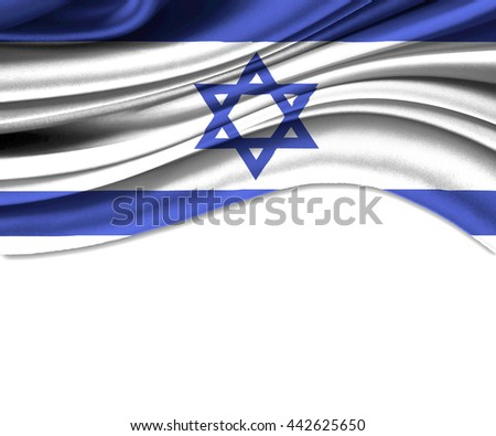3D illustration of Israel fabric waving of flag. - stock photo