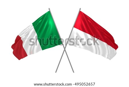 3d illustration of Italy and Indonesia flags waving