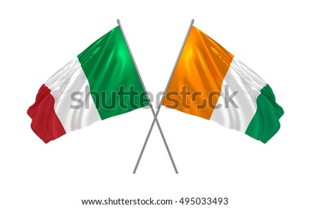 3d illustration of Italy and Ivory Coast flags waving