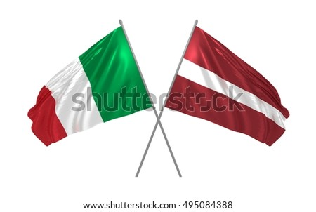 3d illustration of Italy and Latvia flags waving
