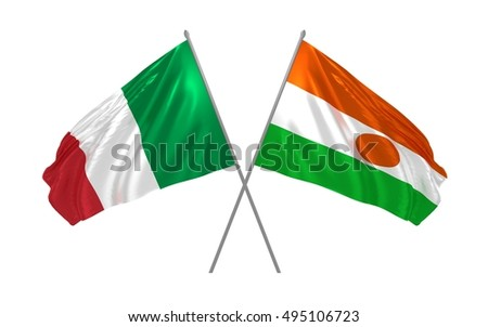 3d illustration of Italy and Niger flags waving