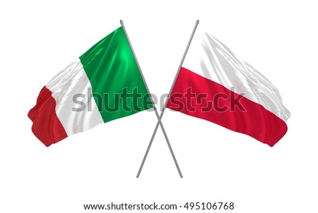 3d illustration of Italy and Poland flags waving