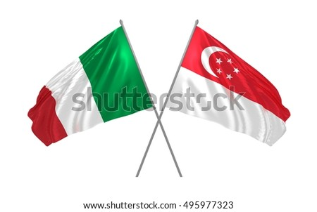 3d illustration of Italy and Singapore flags waving
