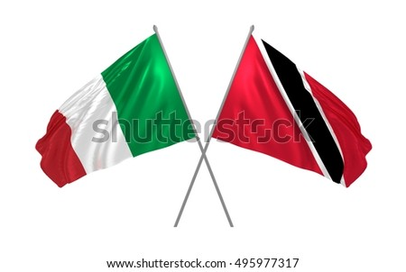 3d illustration of Italy and Trinidad and Tobago flags waving