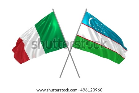 3d illustration of Italy and Uzbekistan flags waving