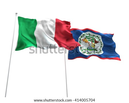3D illustration of Italy & Belize Flags are waving on the isolated white background