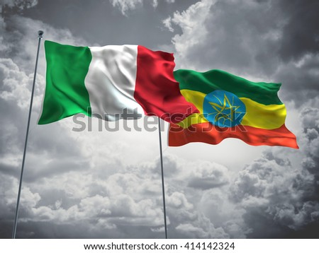 3D illustration of Italy & Ethiopia Flags are waving in the sky with dark clouds  - stock photo