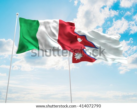3D illustration of Italy & Nepal Flags are waving in the sky - stock photo