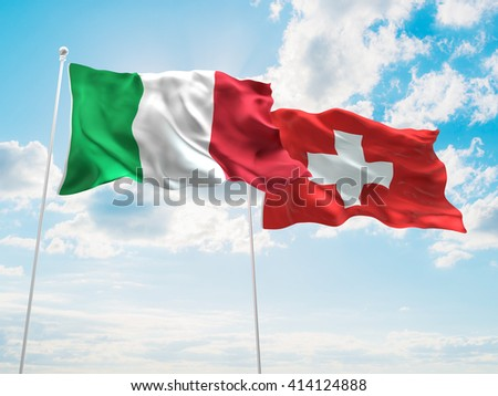 3D illustration of Italy & Switzerland Flags are waving in the sky - stock photo