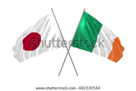 3d illustration of Japan and Ireland flags waving