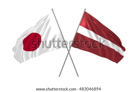 3d illustration of Japan and Latvia flags waving