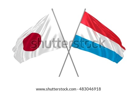 3d illustration of Japan and Luxembourg flags waving