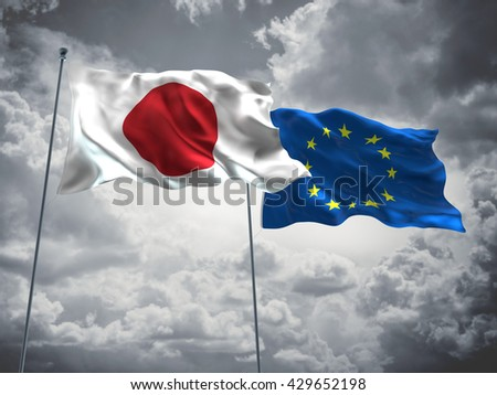 3D illustration of Japan & Europe Union Flags are waving in the sky with dark clouds  - stock photo