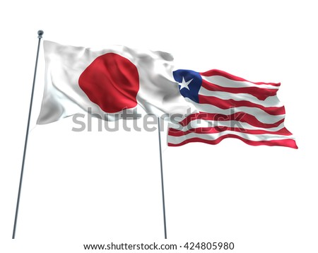 3D illustration of Japan & Liberia Flags are waving on the isolated white background - stock photo