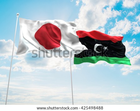 3D illustration of Japan & Libya Flags are waving in the sky - stock photo