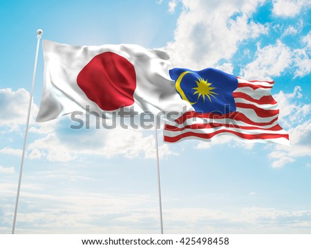 3D illustration of Japan & Malaysia Flags are waving in the sky - stock photo