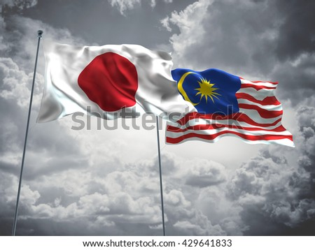 3D illustration of Japan & Malaysia Flags are waving in the sky with dark clouds