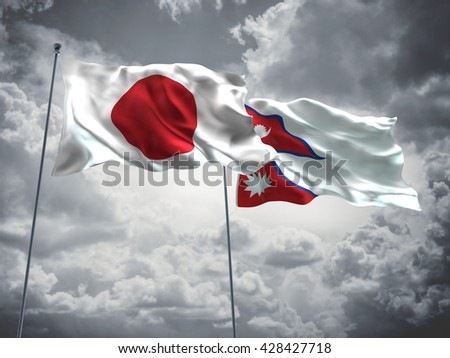 3D illustration of Japan & Nepal Flags are waving in the sky with dark clouds  - stock photo