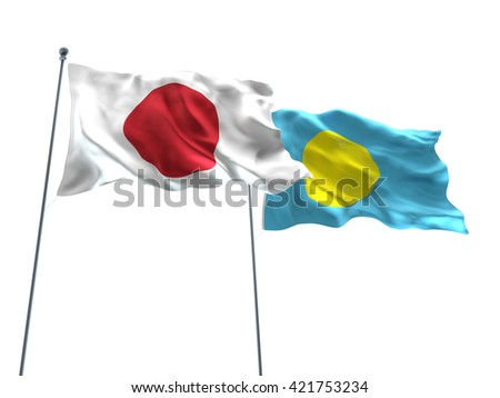 3D illustration of Japan & Palau Flags are waving on the isolated white background - stock photo