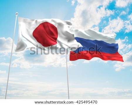 3D illustration of Japan & Russia Flags are waving in the sky - stock photo