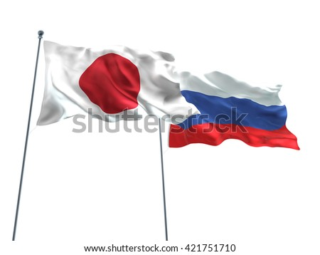 3D illustration of Japan & Russia Flags are waving on the isolated white background - stock photo