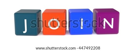 3d illustration of join word from colored cubes