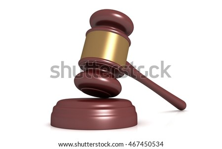 3D illustration of judge gavel on a white background