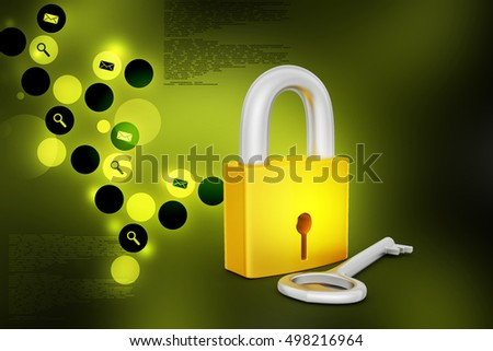 3d illustration of Key and padlock