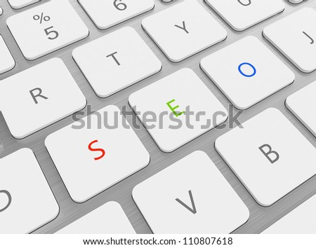 3D illustration of keyboard with red green and blue SEO buttons