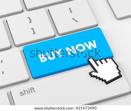 3D illustration of keyboard with  shopping button, 3d rendering - stock photo