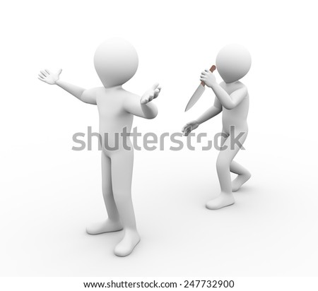3d illustration of killer gangster man with large knife attacking another person.  3d rendering of human people character - stock photo