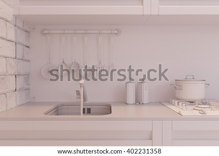 3d illustration of kitchen interior design in a modern style. Interior displayed in the polygon mesh.