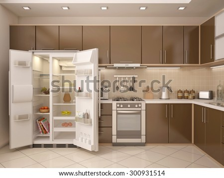 3D illustration of kitchen interior with an open refrigerator - stock photo
