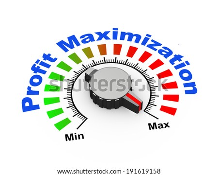 3d illustration of knob set at maximum for boost your profit and revenue - stock photo