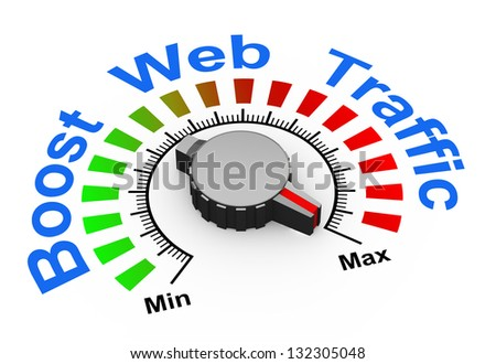 3d illustration of knob set at maximum for boosting web traffic. - stock photo