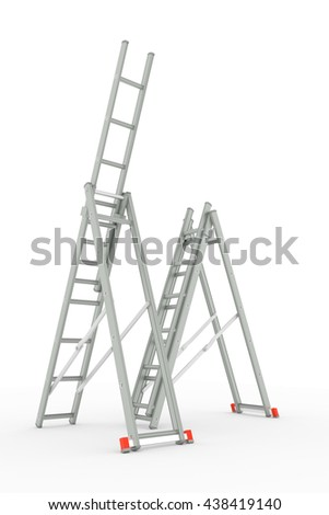 3d illustration of ladders isolated on white background - stock photo