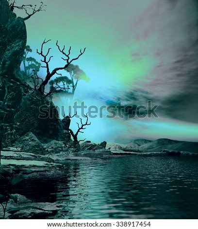 3D illustration of landscape at dusk where we observe part of an island with vegetation - stock photo