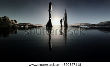 3D Illustration of landscape at sunset which highlights three rocks in the background of serene water with the sun down.